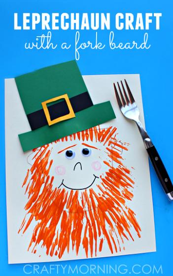 leprechaun-craft-with-a-fork-beard-st-patricks-day-kids-craft