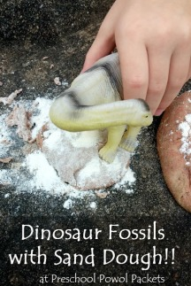 dinosaur footprint fossils with sand dough (9) label